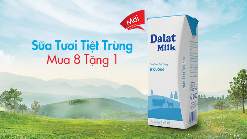 Sữa tươi tiệt trùng hộp 180ml – Mua 8 tặng 1